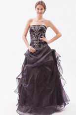 Modest Strapless Embroidery Corset Black Evening Dress