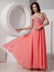 Straps Watermelon Chiffon Evening Dress For Cheap Price