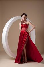 Classical Side Split Wine Red Special Ocassion Dress