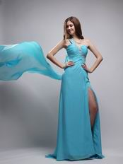 Watteau Aqua Dress With One Shoulder Skirt For Evening