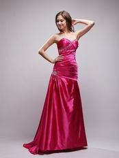 Rose Fuchsia Long A-line Evening Dress Affordable