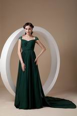 Cheap Watteau Train Dark Green Mother Of The Bride Dress