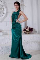 Unique Square Dark Green Backless Evening Dress