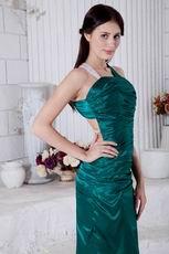 Unique Square Dark Green Backless Evening Dress