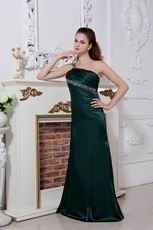 Backless One Shoulder Olive Green Pageant Evening Dress