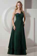 One Shoulder Dark Green Beautiful Evening Dress