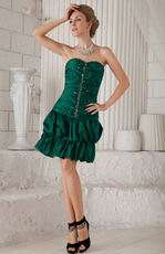 Dark Green Sweetheart Sheath Mini Taffeta Beaded Prom Dress