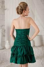 Dark Green Sweetheart Sheath Mini Taffeta Beaded Prom Dress