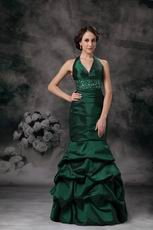 Mermaid Halter Dark Green Evening Dress Discount