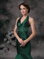 Mermaid Halter Dark Green Evening Dress Discount