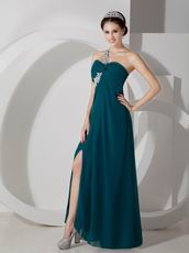 Dark Green One Shoulder Side Split Sexy Women Prom Dress