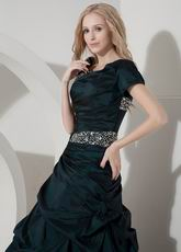 Square Neck Dark Green Mother Of The Bride Dress Petite