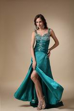 Colorful Diamonds Teal Evening Dress With Side Split Skirt