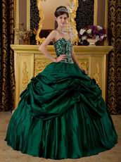 Dark Green Pick Up Skirt Embroidered Quinceanera Dress Cheap