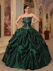 Hunter Green Beaded Strapless Evening Ball Gown For Women