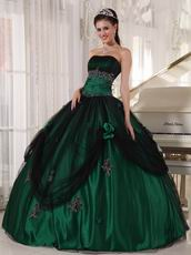 Puffy Floor-length Dark Green Quinceanera Dress 2014