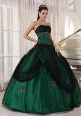 Puffy Floor-length Dark Green Quinceanera Dress 2014