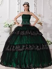 Dark Green Quinceanera Dress Covered With Black Tulle