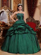 Dark Green Strapless Floor Length Ball Dress Military Party