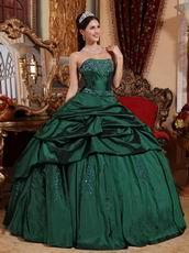 Dark Green Strapless Floor Length Ball Dress Military Party