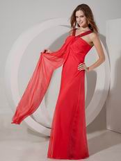 Hot Pink V-neck Empire Front Drapped Chiffon Prom Dress