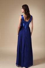 Royal Blue Chiffon V-neck Prom Dress With Handmade Flowers