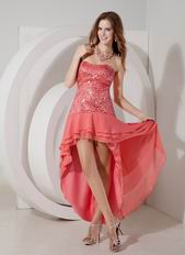 2014 Top Designer Watermelon Sequin High-low Prom Dress
