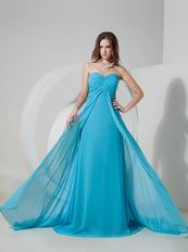 2014 Sweetheart Prom Dress Made By Doger Blue Chiffon