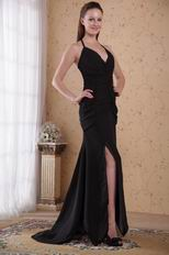 2014 New Arrival Black Chiffon Evening Dress With Side Split