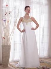 New Style Cross Back White Prom Dress With Golden Pearl