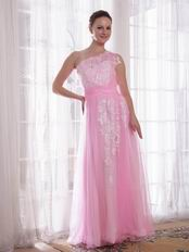 One Shoulder Appliqued Skirt Pink Lady In Prom Party Dress