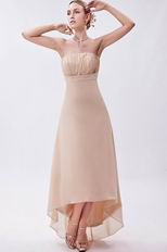 Beautiful Asymmetrical High Low Skirt Bisque Chiffon Prom Dress