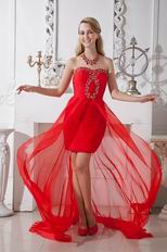 Wholesale Sweetheart Scarlet Prom Evening Dress High Low Skirt