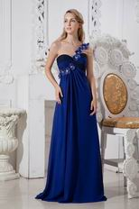 Beautiful One Shoulder Royal Blue Chiffon Prom Party Dress 2014