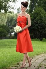 Wholesale Spaghetti Straps Tea Length Orange Red Prom Dress