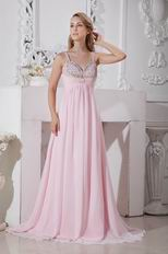 Affordable Straps Pink Chiffon Women In Prom Dress With Beading