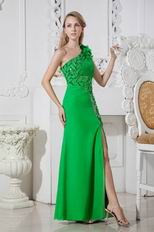 Unique One Shoulder Sequin Leaves Bright Green Prom Dress With Split