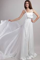 Watteau Train White Chiffon Prom Gown With Handmade Flowers