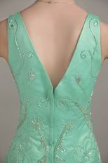 Beaded V Neck Dropped Waist Apple Green Formal Dresses Shop