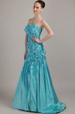 Teal Strapless A-line Floor Length Prom Dress Designer