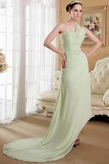 Yellow Green One Shoulder Neckline Chiffon Prom Dress
