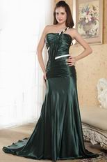 2014 Style One Shoulder Mermaid Olive Green Female Prom Dress