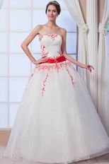 Elegant Strapless White Puffy Prom Ball Gown With Red Embroidery