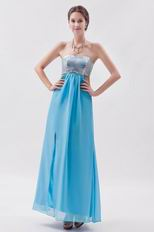 Sequin Strapless Tied Back Aqua Chiffon Prom Dress With Split