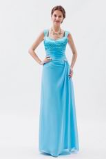 Modest Wide Straps Aqua Blue Prom Dress With Jaket Accessory