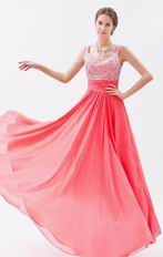 Princess Straps Coral Red Chiffon Prom Dress With Beading