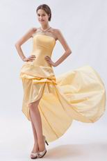 Sexy Strapless High Low Style Moon Yellow Taffeta Prom Dress