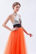 Halter Sequin A-line Orange Red Net Prom Dress In Texas