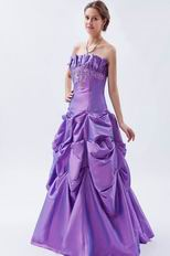 Cheap Strapless Blue Violet Taffeta Prom Dress With Embroidery