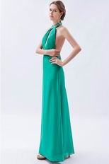 Halter Top Backless Cyan Blue Chiffon Prom Dress With Beading
